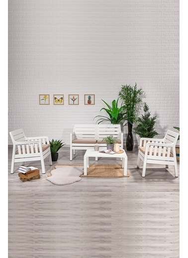 Sandalie Lara 2+1+1+S Balkon&Teras&Bahçe Mobilyası / Beyaz Beyaz